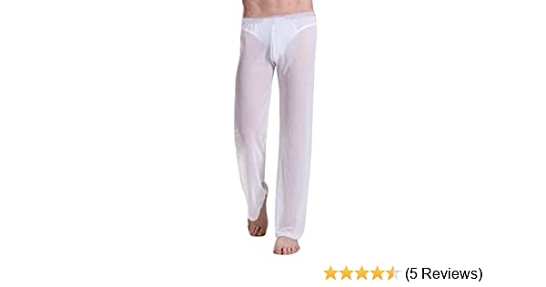 Fishnet Pajamas Sets Mens Tranparent Tank Tops Pants Trousers Mesh Sleep Vest Undershirts Bottoms Sleepwear Underwear Nightwear Men's Pajama Sets