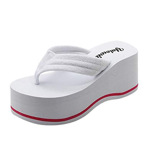 Frauen Bequeme Plateauschuhe Flip Flops Sommer Slipsole Sandalen Open Toe rutschfeste Slipper 7cm hochhackigen Strand Pool Schuhe UK Größe 4-6.5