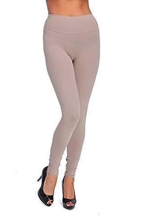 FUTURO FASHION longue taille haute Leggings coton tous coloris toutes les tailles actif pantalon sport pantalon lwpy - Beige, EU 36 (S)