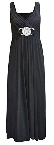 NEW dernière pour femme Fête Soirée Cocktail Mesdames longue boucle Soirée Maxi robe Noir