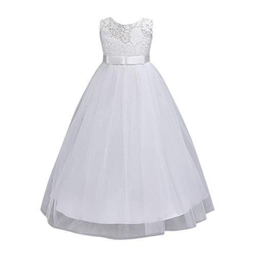 Vestito floreale ragazza dei bambini principessa formale bowknot festa dello spettacolo abito da sposa damigella d'onore rawdah (bianca, 12t)