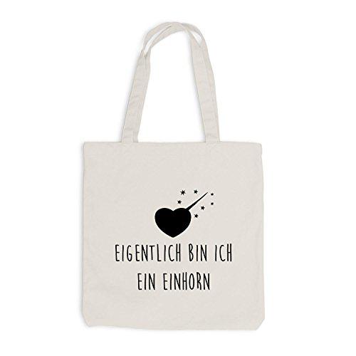 Jutebeutel - Eigentlich bin ich ein Einhorn - Herz Horn Unicorn Beige