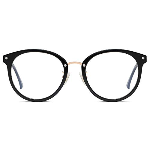 SOJOS Round Brille mit Blaulichtfilter ohne Sehstärke Anti-Blaulicht Gläser Brille SJ9001 Ashley mit Schwarzem Rahmen/Anti-Blau-Lichtlinse