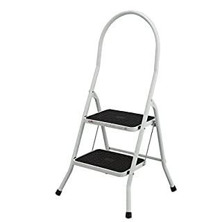 Abru 2 Step Highback Stepstool, Heavy Duty 150Kg Load Capacity, EN14183 certification, 5 Year Guarantee, White