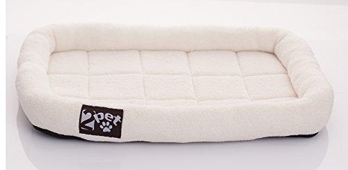 2PET Haustierbett aus weichem Fleece, gepolstert, für alle Jahreszeiten, mit Doppel-Fleece-Füllung für bessere Dämpfung, wasserdicht, leicht zu reinigen, robuste Bordüre für Kopfstütze - CPB1504 -