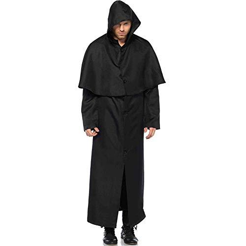 Erwachsenen Männer Priester Für Kostüm - GLXQIJ Männer Kostüm Halloween Mit Kapuze Mönch Priester Robe Mantel Ritter Party Cosplay Kostüm Outfit,Black,L