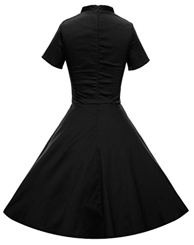 Eyekepper Robe Femme / Mademoiselle - Vintage col en V manche courte Noir