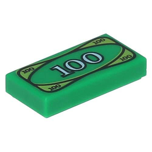 LEGO 10 x Fliese 1 x 2 mit 100 Dollar Schein Geld Aufdruck Grün