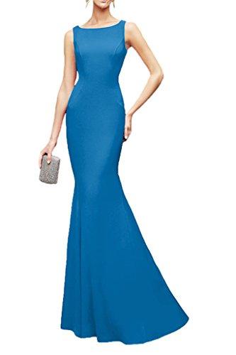 La_Marie Braut Elegant Chiffon Spitze Brautjungfernkleider Partykleider Abendkleider Schmaler Schnitt Bodenlang Blau