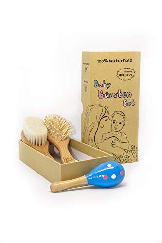 Baby Naturholz Haar Bürsten Set mit Holzrassel in einer Geschenkbox