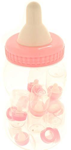 Bomboniere biberon maxi 14,5xh33cm + 18 biberon piccoli 4xh9cm nascita battesimo compleanno confettata (rosa)