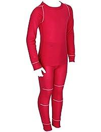 icefeld® - Atmungsaktives Thermo-Unterwäsche Set für Kinder - warme Wäsche aus langärmligem Oberteil + Langer Unterhose (ÖkoTex100) in blau oder pink
