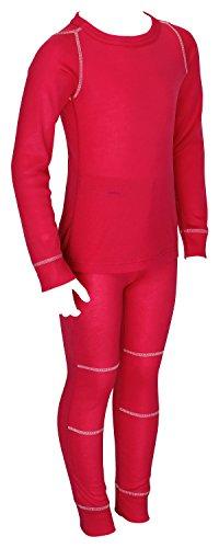 icefeld® - atmungsaktives Thermo-Unterwäsche Set für Kinder - warme Wäsche aus langärmligem Oberteil + Langer Unterhose: pink in Größe 134/140