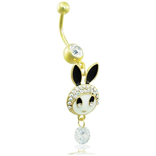 Jeweled Bunny (Gold ton Bauch Ring mit Dangling jeweled Bunny)
