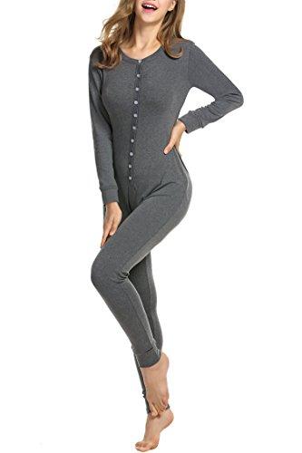 HOTOUCH Damen Langarm Strampler Jumpsuit Onesie Thermo Unterwäsche Stretch Nachtwäsche Thermowäsche mit Rundhalsausschnitt Dunkelgrau