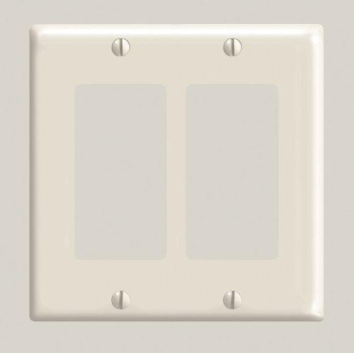 Leviton 80409-T 2-Gang, Decora/GFCI Device Wallplate, Standard Size, Thermoset, Device Mount, Light Almond by Leviton -