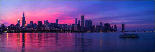 Posterlounge Hartschaumbild 120 x 40 cm: Chicago am Lake Michigan, USA von Panoramic Images