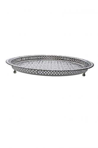 Orientalisches rundes Tablett aus Messing versilbert Nadia 47cm | Marokkanisches Teetablett in der Farbe Silber | Orient Silbertablett silberfarbig | Orientalische Dekoration auf dem gedeckten Tisch -