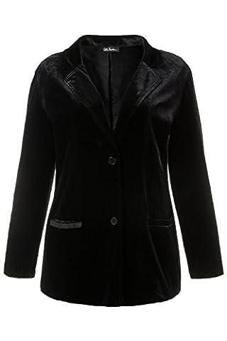 Ulla Popken Femme Grandes tailles Veste de tailleur velours- Blouson - Uni - Col Chemise Italien - Manches Longues - Sexy Femme noir 56/58 707386 10-54+
