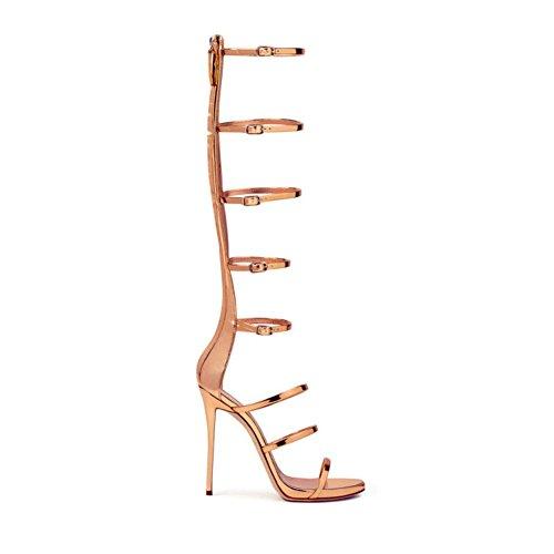 LYY.YY Damen Rom Bandage Zehensandalen Öffnen Mode Gladiator Design Kniehohe Heels Mit Super Shorts Sandalen (Absatzhöhe: 12 Cm),Gold,44