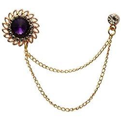 Knighthood - Broche para Solapa, diseño de Piedra Morada con Grabado de Cristal y Cadena para Colgar