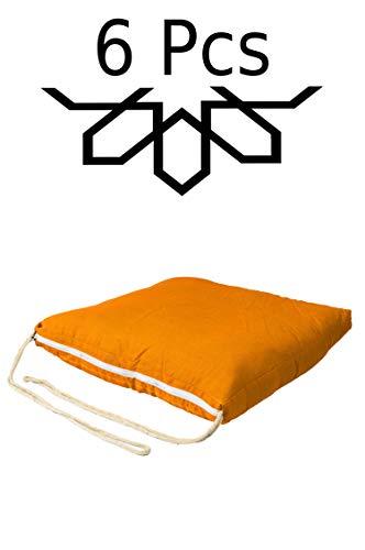 6er Set Sitzkissen Stuhlkissen mit Schleife 45cm Groß Eckig Orange | Outdoor im Garten als...