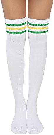 HDE Striped Softball Socks Extra Long Over the Knee Athletic Tube Sock for Women