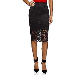 oodji Ultra Mujer Falda Midi de Encaje, Negro, ES 38 / S