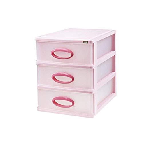 HYLH Büro Transparenter Kunststoff Desktop Schrank Schublade Akten Aufbewahrungsbox Tragbare und ordentliche Aufbewahrungsbox (Farbe: Rosa) -