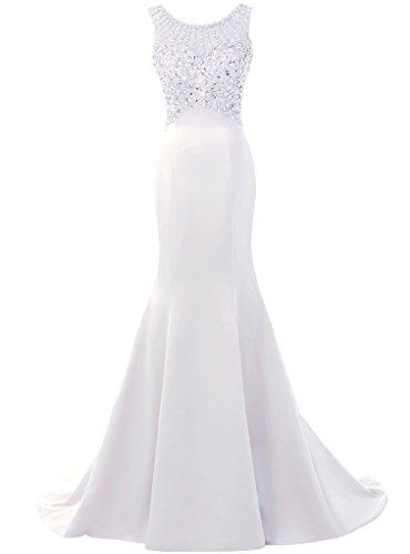 Solovedress Frauen Langes Meerjungfrau Prom Kleid Perlen Abendkleider Brautkleid Brautjungfer (Weiß, Eur34)