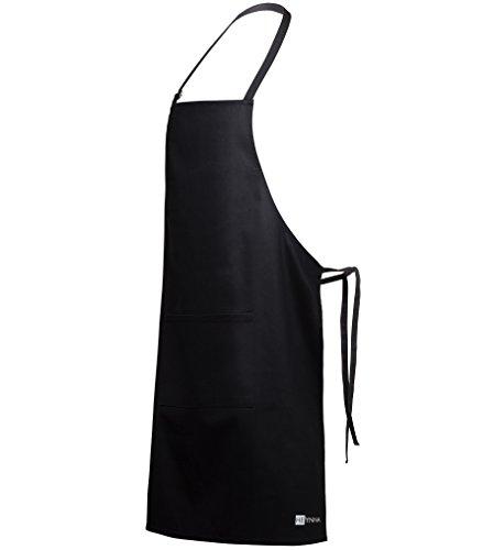 HEYNNA ® Premium Kochschürze/Küchenschürze 100% Baumwolle belastbar & einfach zu reinigen - perfekt auch als Grillschürze und Backschürze (schwarz)
