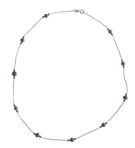 Adara 9 ct White Gold Snake Pearl and Ball Necklet of Length 45.72 cm