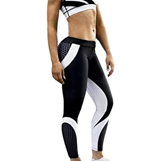 Anglewolf Womens 3D Printing Yoga Skinny Workout Gym Leggings Sports Fitness Training Cropped Long Pants Trousers Elastic High Waist Yoga Pants (Black, M)