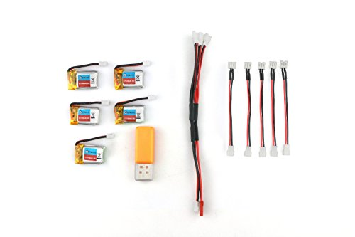 Preisvergleich Produktbild EACHINE Akku Batterie mit USB Charger Set Ersatzteile 3.7V 150mAh 30C Battery für EACHINE E010 REALACC H36 5PCS