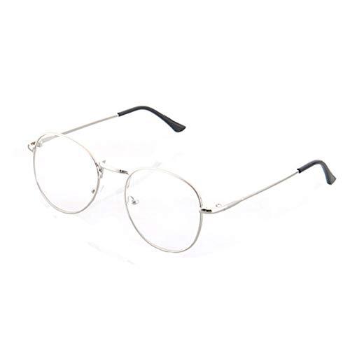 DiiZii Unisex Vintage Pilotenbrille Metallrahmen Fensterglas Brille Ohne Stärke Durchsichtig Nerdbrille Sonnenbrille mit Nasenpad Retro Winddicht Sonne Brille