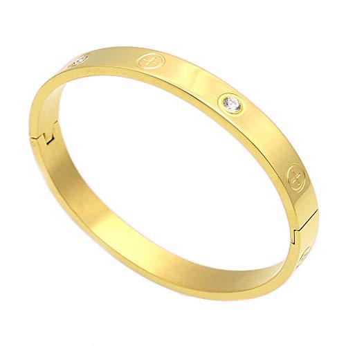 Lusso placcato oro-in acciaio INOX con pietra di zirconia cubica Simple Style Love braccialetto per donne uomini e Acciaio inossidabile, colore: Gold Size 16cm, cod. XS02