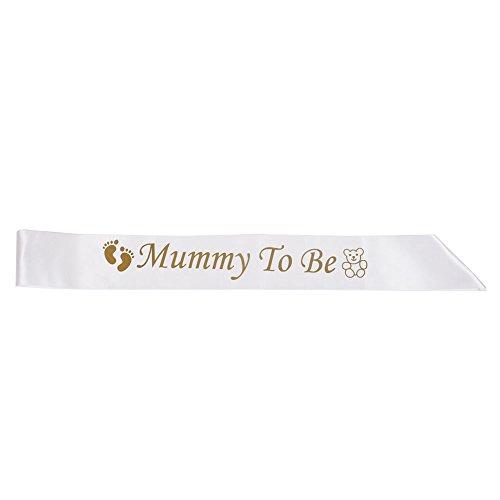 Kicode Sash Satin Mummy to Be Banner Teddy Ribbon Partei-Bevorzugung White Gold Kostenlos Aus Beitrag Mutter Baby Shower Hochzeit (Gold Baby Ribbon)