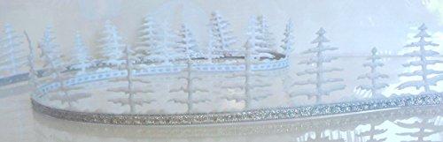 SCHLEIFENBAND 5m x 40mm TANNE Borte MOTIVBAND Dekoband GESCHENKBAND Weihnachten [X272] (weiß - silber) (Weihnachts-geschenkband)