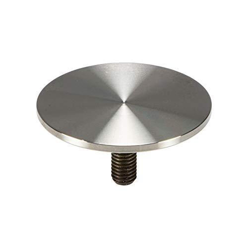 Gedotec Glasplatten-Adapter Edelstahl Glas-Befestigungsplatte mit M10 Gewinde für Tischbeine & Tischfüße Ø 60 mm - H10752 | Edelstahl matt gebürstet | 1 Stück - Design Tischplatten-Befestigung rund