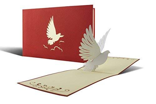 Karte zur Taufe, Kommunion, Konfirmation, Taufkarte, Glückwunsch zur Taufe für Junge oder Mädchen mit Taube 3D Pop Up C04