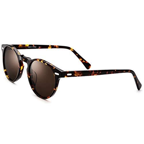 Easy Go Shopping Runde Retro Vintage Style Hippie-Brille für Männer und Frauen mit Kreis polarisierten Gläsern UV-Schutz Sonnenbrillen Sonnenbrillen und Flacher Spiegel
