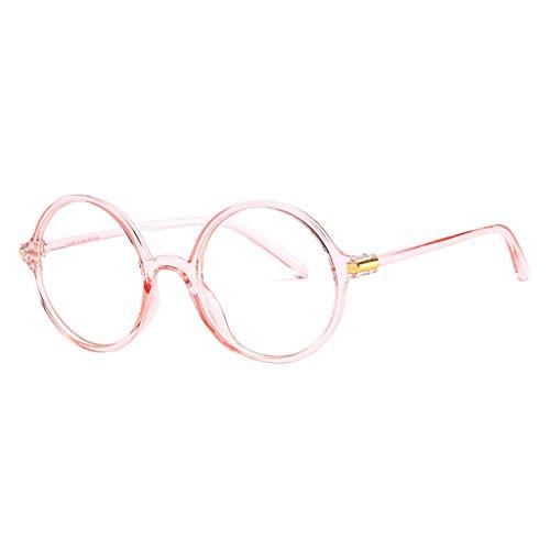 fazry Herren Damen Universal Rund Frame Blockierung Blaues Licht Flacher Spiegel Brillen(Rosa)