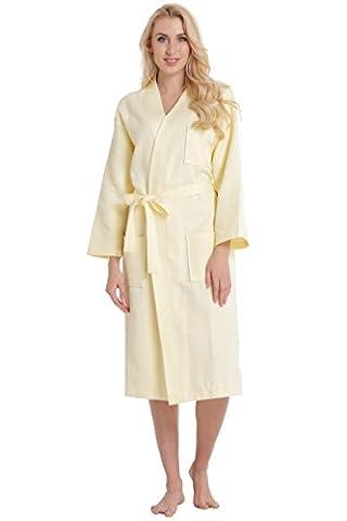 Aibrou Robe de Chambre Kimono Tissage Gaufré Femme 100% Coton Waffle Peignoir de Bain Légère col V Unisexe Pyjama Pour l'hôtel Spa Sauna Vêtements de nuit ( Jaune XL)