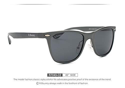 LKVNHP Neue Hochwertige Marke Unisex Aluminium Mode Herren Polarisierte Spiegel Sonnenbrille Weibliche Brillen Zubehör SonnenbrilleR7043 C2Box