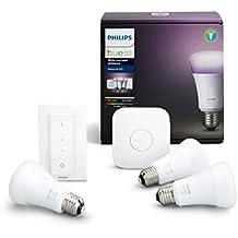 Philips Hue White and Color Ambiance - Kit de 3 bombillas LED E27 con puente y mando, 9.5 W, iluminación inteligente, cambian de color, compatible con Amazon Alexa, Apple HomeKit y Google Assistant