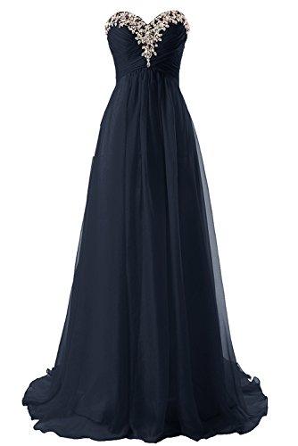 Abendkleider Ballkleider Lang Damen Brautjungfernkleid Festkleider Chiffon A Linie Marineblau EUR44