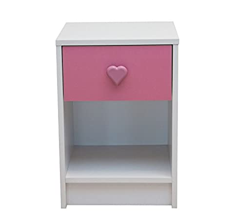 Devoted2Home Children's Bedroom Furniture with 1-Drawer Bedside Cabinet with Heart Handle, Wood, Pink/White, 35.20 x 34.29 x 50
