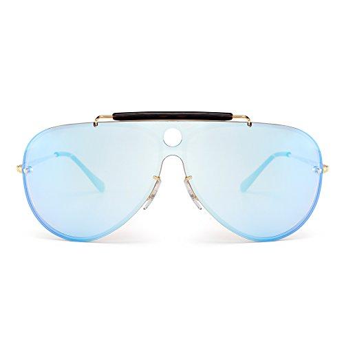 JIM HALO Randlos Flieger Sonnenbrille Spiegel Flach Top Ein Stück Metall Brille Damen Herren(Gold/Spiegel Blau)