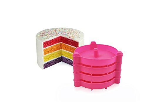 CÉCOA- MOULE RAINBOW CAKE X4 SUPERPOSABLES - LAYER CAKE SILICONE + LIVRET RECETTE