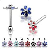 20 Pieces Mix All Color Pack in Mini box 925 Silver Color Paintting Flower 20G-6MM Ball End Nose stud Piercing Jewellery